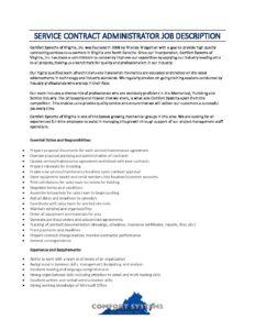 Service Contract Administrator Job Description 2019